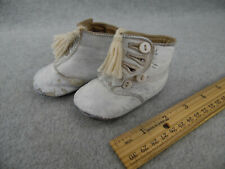 Antique white leather Doll Shoes Boots for French Bebe or German Doll