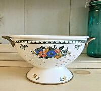 Vintage Ivory Enamel Footed Strainer Colander Floral Design/Brass Copper Trim