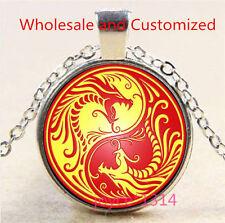 Yin Yang Dragon Cabochon Tibetan silver Glass Chain Pendant Necklace #3535