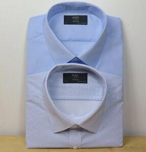 "M&S Mens TWIN PACK Long Sleeve SHIRTS ~ Size 17"" ~ BLUE STRIPE / SPOT"
