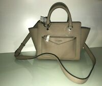 new KARL LAGERFELD PARIS purse handbag L-VICKY Small Leather SATCHEL gray/beige