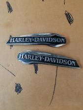 HARLEY DAVIDSON TANK EMBLEMS CHROME AND BLACK BADGES OEM LEFT AND RIGHT