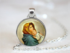 Mother Mary and baby Jesus Catholic Tibet silver pendant chain Necklace