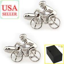 Fashion Men Shirt Cufflinks Silver Bike Riding Cuff Links With Gift Box