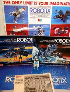 """Lot of 6 1984 Milton Bradley Robotix Books/Booklets & 3.75"""" R-1000 Pilot Figure"""
