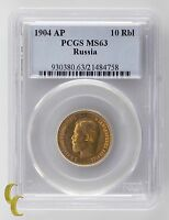 1904 AP Russia 10 Ruble Gold Coin Graded by PCGS as MS-63! Great Color!