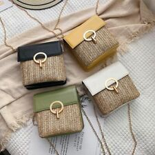 Casual Semicircle Straw Bags Women Chains Messenger Rattan Totes Small Flap