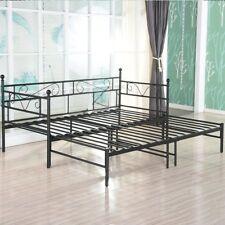 Canapé lit double en métal noir Options avec lit gigogne, lit de repos avec lit