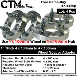 "4PC 1"" THICK 4x100mm TO 4x100mm WHEEL ADAPTER SPACER FIT CHEVY HONDA TOYOTA&MORE"