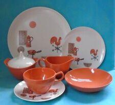 Vintage OD Oneida Melamine Rooster Coral White 8 Settings Platter Sugar Creamer