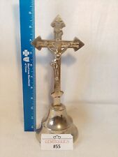 CRUCIFIX VINTAGE SILVER TONED METAL FRENCH BRASS Jesus Christianity CROSS