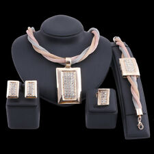 Women Chunky Statement Crystal Square Necklace Bracelet Earring Ring Jewelry Set