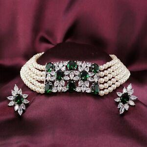 Choker Designer CZ Emerald Necklace Pearl Necklace Set 18 GN 27