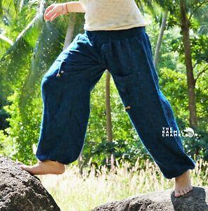 Warm Harem Hippie Pants Blue Black Mix Yoga Festival Loose Boho Gypsy Comfy Soft