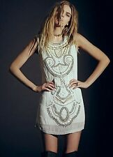 Free People Embellished All in a Row Beaded Shift Dress M Retails $350.00 Rare