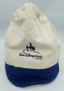 Walt Disney World Resort Navy Blue Natural Canvas Bucket Bag Backpack Backsack