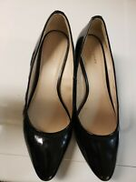 Cole Haan Black Patent Leather Pointed Toe Wedge Shoes Size 8.5