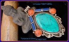 LONG PENDENTIF Médaille ETHNIQUE Argenté TURQUOISE CORAIL Artisanat TIBET NEPAL