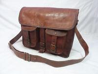 15 In Vintage Leather Messenger Bag Laptop Satchel Crossbody Shoulder School Bag