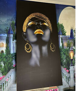 African Woman Art Print Framed Canvas Fabric Streched 160x80 Cm