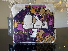 New VTG 60s 70s Pop Art Garden Cottage Snoopy Denim Zip Credit Card Purse Wallet