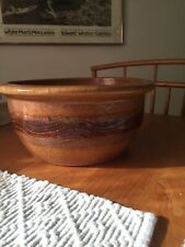 Very Large Nicely Decorated Yellowware Stoneware Dough Bowl Stamped 'A' Inside