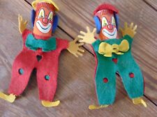 set of 2 vintage roly clowns