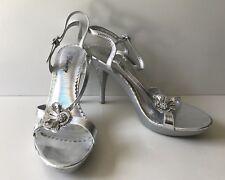Delicacy Womens Rhinestone Silver Pump Strappy Heel Open Toe Shoe SIZE 8.5