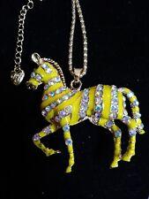 Betsey johnson yellow enamel Crystal zebra necklace