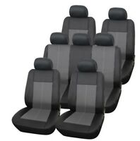 Premium Leather Look Milan Black & Grey 7 Seater Car MPV Seat Cover Set 13 Piece