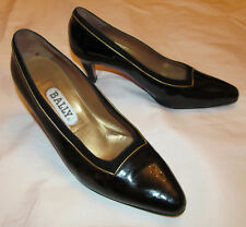 BALLY vintage patent leather / gold and suede trim pumps art deco shoes 6.5 M  *