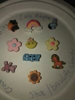 3D Baby, Flowers & Toys Lot Of 10 Crocs,Bracelet,Lace Adapter Charms,Jibbitz