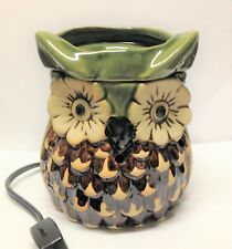 Ceramic HORNED OWL Electric TARTS WAX MELT WARMER Burner GREEN BROWN Flower Eyes