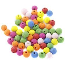 100Pcs Multi Color Wooden Round Loose Spacer Beads for DIY Jewelry Making
