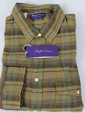 Ralph Lauren Purple Label Mens Shirt Green Tan XL Tailored Fit Linen MSRP $495
