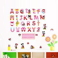 Alphabet Disney Mickey Minnie Pluto Wall decals sticker decor kids nursery Art