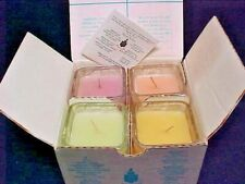 Partylite Fruit Tea Sampler 4 New Votive Candles in Square Decorative Glass Jar