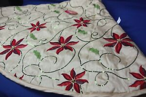 Macy's Holiday Lane Gold Tree Skirt Embroidered Poinsetta & Leaves Sequin Swirls