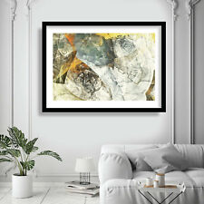 Abstract Painting Art Print Yellow Grey Texture Contemporary Wall Poster Decor