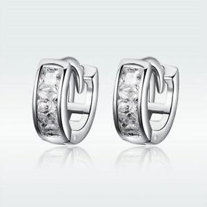 European New 925 Sterling Silver Ear Huggie With CZ Earrings Fashion Women Gifts