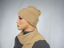 New PORTOLANO 100% Cashmere Hat and Scarf Set Tan Beige NWT