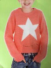 Pulli Pullover Stern Apricot Gr. 110 / 116 Weißer Stern Strickpulli Mädchen