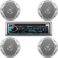 "Kenwood Marine Boat USB CD Bluetooth Receiver, 4 JBL 6.5"" 150W Marine Speakers"