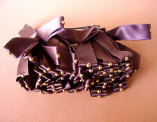 1427 /   BARRETTE RUBANS DE SATIN  MARRON