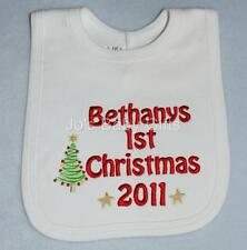 Personalised Baby Christmas Bib, ADD ANY NAME! Tree Design