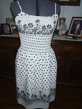Womens  Retro Vintage Sz 7 black and white polka dot & floral lined sundress EUC