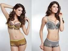 Glamour Embroidery Lace Super Shaper Push Up Bra Wide Detachable Straps 4 Hooks