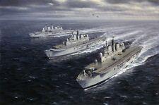"""HMS Invincible Ark Royal Illustrious Marine Painting Art Print - 14"""" Print"""