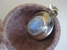 Rainbow Moonstone Silver Pendant ~ Simple sterling, blue