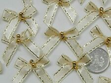 100 Gorgeous Gold Edged Satin Bows with 2 Gold Pearls - Cream Bow Embellishments